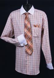 Daniel Ellissa French Cuff Orange Full , Hanky and Cuff Links 18 19 20 21 22 Inch Neck Men's Dress Shirt