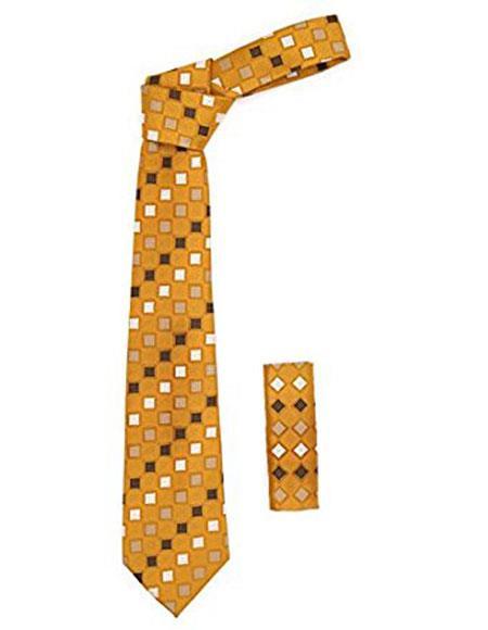 Mens Geometric Square Pattern Burnt Orange Trendy Necktie With Hanky Set