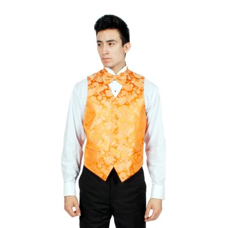 Mens Orange P A I S L E Y Vest Bowtie Necktie And Handkerchief Set Also available in Big and Tall Sizes