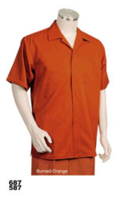 Mens Orange Short Sleeve 2piece Casual Walking Suit