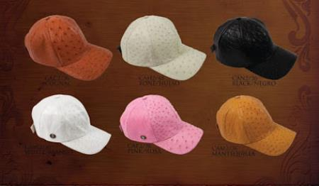 Men's Hats Genuine Ostrich Baseball Caps Diff. Colors