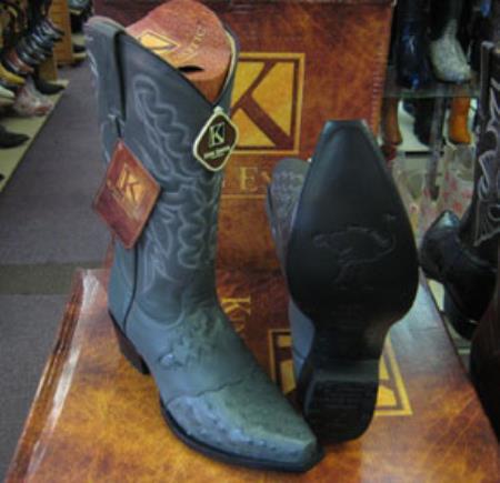 Buy MK938 Mens King Exotic Genunie Ostrich Gray Snip Toe Western Cowboy Boot