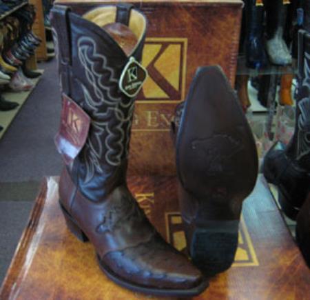 MK948 Mens Genunie Ostrich King Exotic Snip Toe Western Cowboy Brown Boot