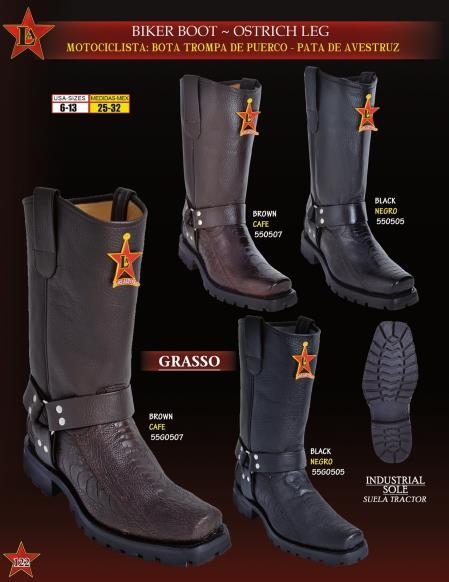 Los Altos Mens Genuine Ostrich Leg Biker Cowboy Western Boots Diff. Colors
