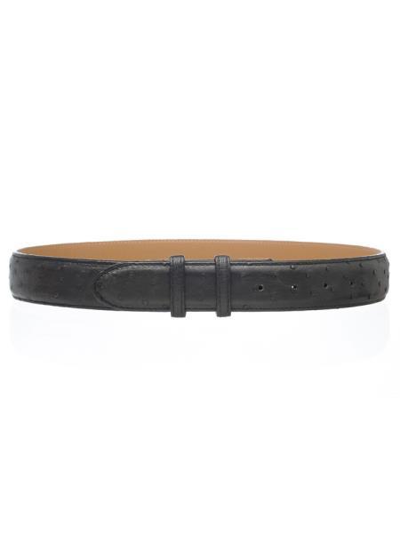 Black Men's Genuine Full Ostrich Quill Belt 1 1/2'' width