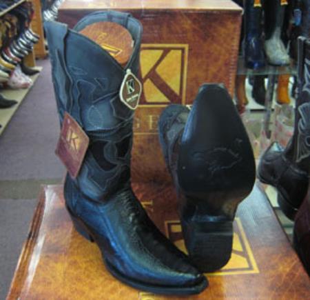 Buy MK946 Mens Genunie Ostrich Leg King Exotic Snip Toe Western Cowboy Black Boot