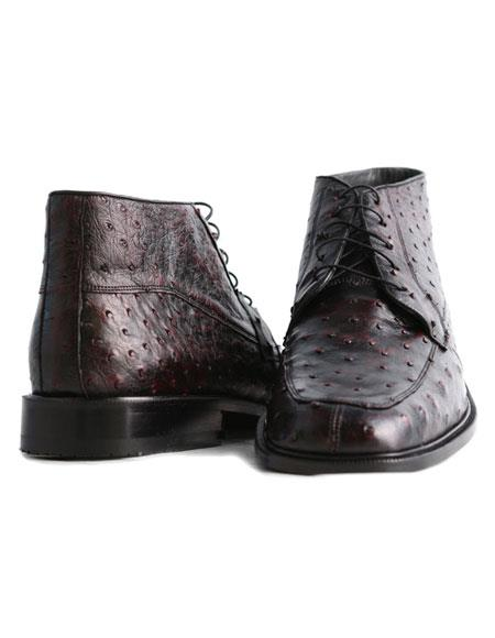 Los Altos Men's Genuine Ostrich Stylish Black Cherry Dress Ankle Boot