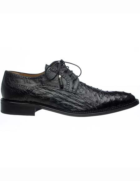 Ferrini Men's Tasseled Lace Up Genuine Ostrich Quill Black Leather Sole Shoes Mens Ostrich Skin Shoes
