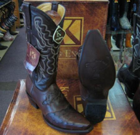 Buy MK950 Mens Genunie Ostrich King Exotic Snip Toe Western Cowboy Brown Boot