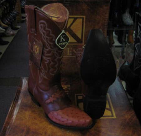 Buy MK947 Mens Genunie Ostrich King Exotic Snip Toe Western Cowboy Cognac Boot