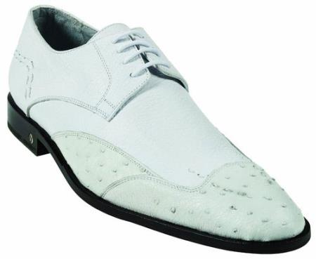 Mens Ostrich Full Quill Skin White Dress Shoe