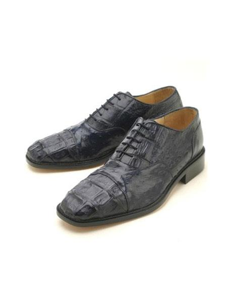 Oxfords Navy Croc & Ostrich Authentic Genuine Skin Italian Lace Up Oxford Dress Shoe