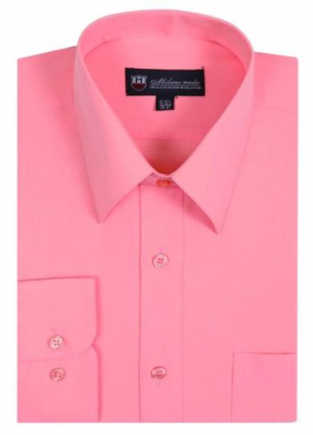 Plain Solid Color Traditional Peach Mens Dress Shirt