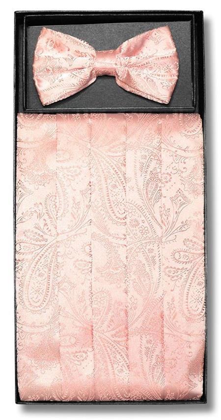 Mens Peach Paisley Pattern Polyester Bowtie With Cummerbund