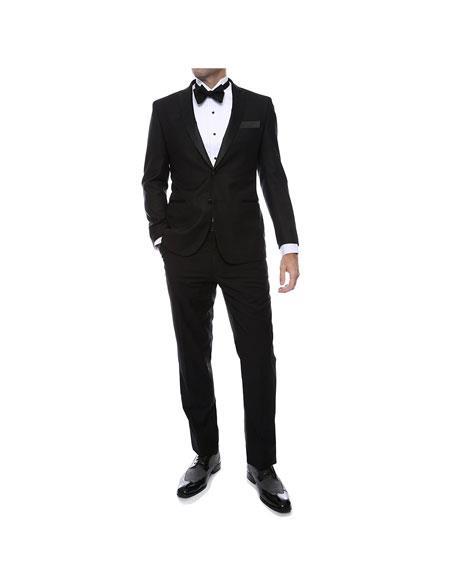 Mens 1-Button Zip fly Peak Lapel Regular Fit Tuxedo