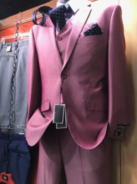 Mens Pink Suit Vested 2 Button Suit Vested Suit