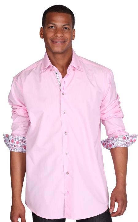 Men's Pink 60% Cotton 40% POLY Shirt Solid Color Double Collar