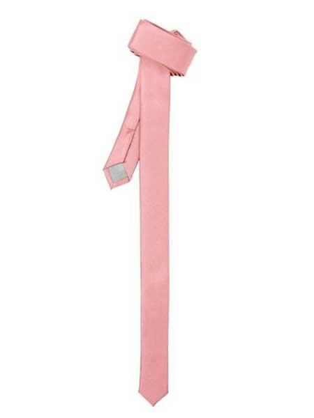Pink Polyester Satine Fabric Super Skinny Slim Fully Lined NeckTie