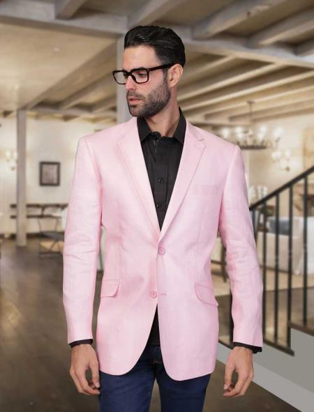 Mens Summer Linen Light Weight Blazer ~ Sport coat ~ Jacket Pink
