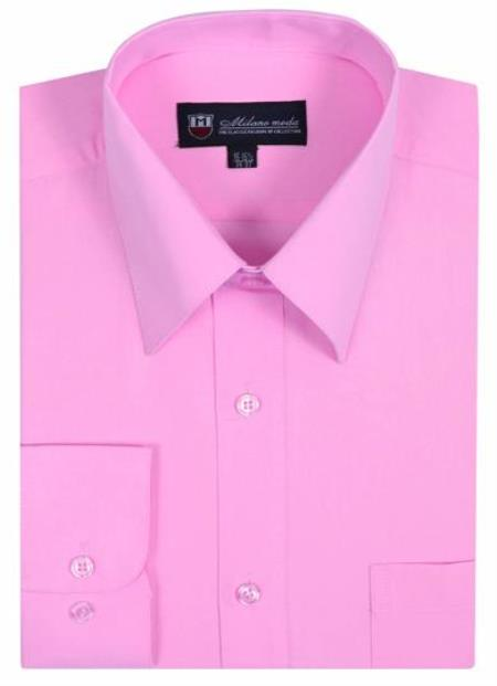 Plain Solid Color Traditional Pink Men's Dress Shirt