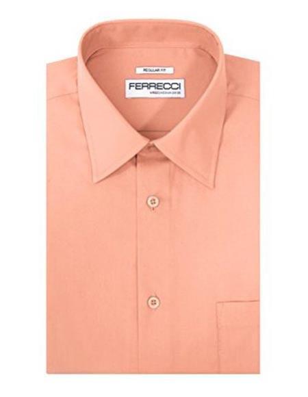 Ferrecci Cotton Blend Pink Barrel Cuffs Regular Fit Collared Men's Dress Shirt