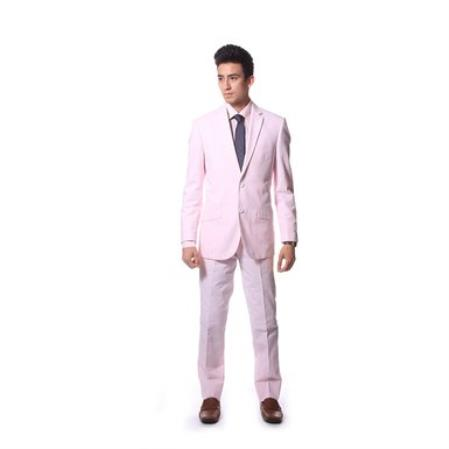 Seersucker Pink Cotton Suit