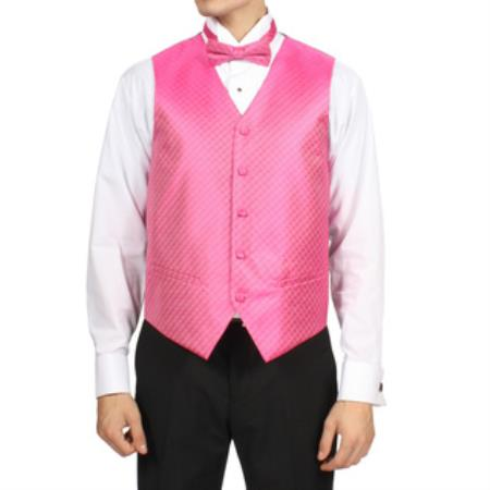 Mens Fuchsia ~ fuschia~ hot Pink Diamond Pattern 4-Piece Vest Set Also available in Big and Tall Sizes