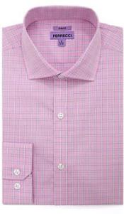 Ferrecci Pocket Button Down Checkered Paisley Regular Fit Pink Men's Dress Shirt