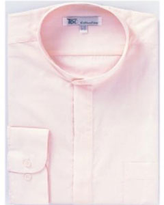 Mens Band Collarless Dress Shirts Pink