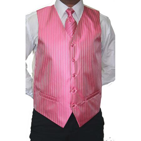 Pink Four-Piece, Five-button Suit or Tux Vest for Men Also available in Big and Tall Sizes