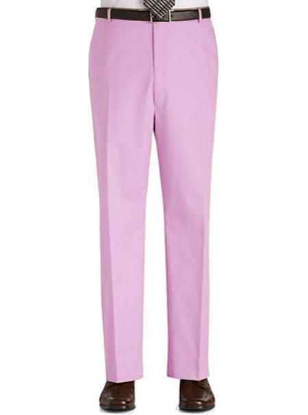 Buy PK3N Stage Party Pants Trousers Flat Front Regular Rise Slacks - Pink