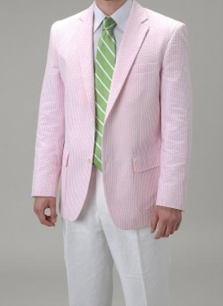 SKU#PN_U53 Summer Light Wright Sport coat Pink seersucker ~ sear sucker Blazer