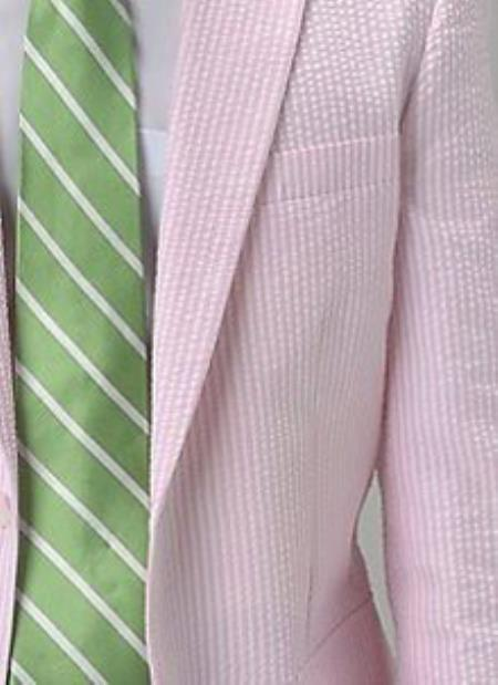Mens Pink seersucker ~ sear sucker 2 Button Notch Single Pleat Suit