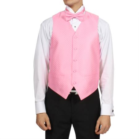 Mens Pink Rose 4-Piece Vest Set Also available in Big and Tall Sizes