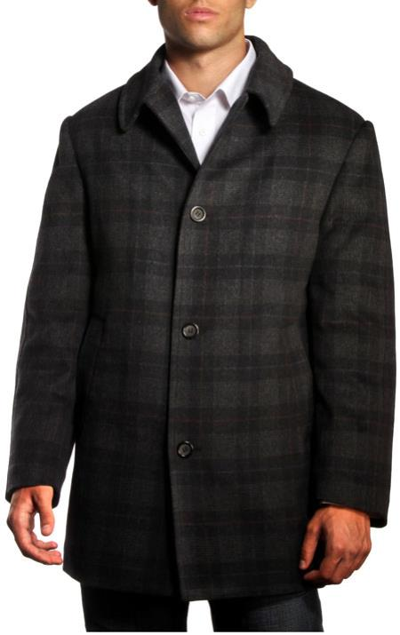 Mens Dress Coat Jean Paul Germain Plaid Jackson Overcoat