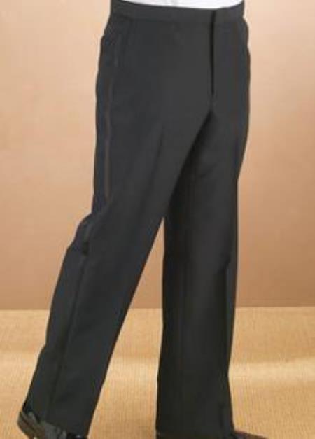 Polyester Plain Front Black Tuxedo Pants unhemmed unfinished bottom