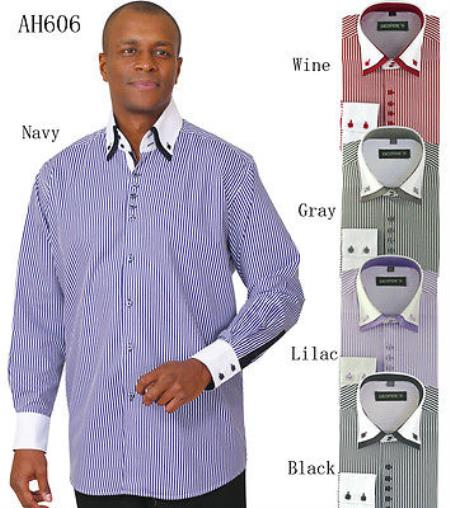 Men's Stylish Fashion Stripe Shirt w/ solid accent cuffs White Collar Two Toned Contrast & collar Multi-color