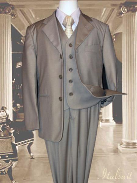SKU#VE9976 Tan ~ Beige 3pc Solid Suit With Vest For Kids