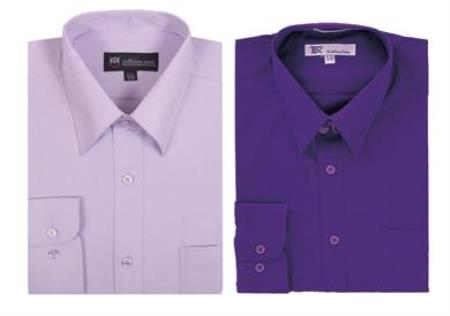 Plain Solid Color Traditional Purple,Men's Dress Shirt