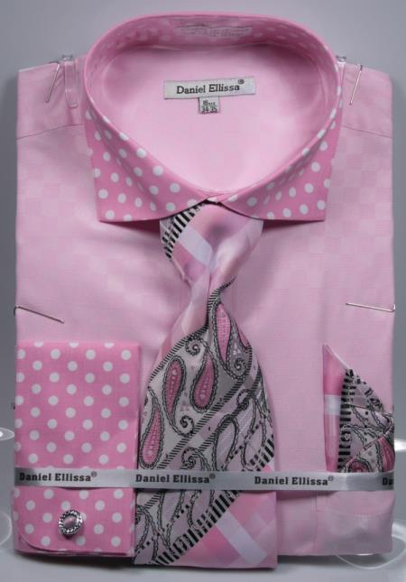 Buy SD16 Mens Polka Dot Dress Shirts French Cuffed Matching Shirt & Tie Combo Set Pink
