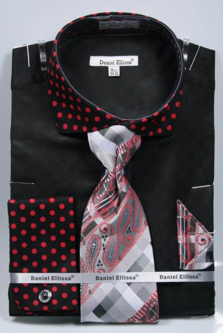Buy SD21 Mens Polka Dot Dress Shirts French Cuffed Matching Black/Red Shirt & Tie Combo Set