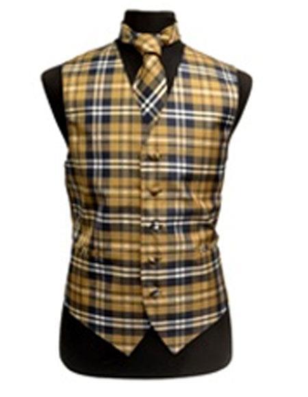 Mens Slim Fit Polyester Plaid Design Dress Tuxedo Wedding Vest/Bow Tie Fashion Set Navy/White/Brown