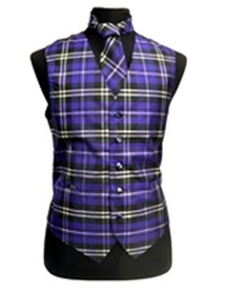 Men's Black/White/Purple Slim Fit Polyester Vest/Bow Tie  Fashion Set