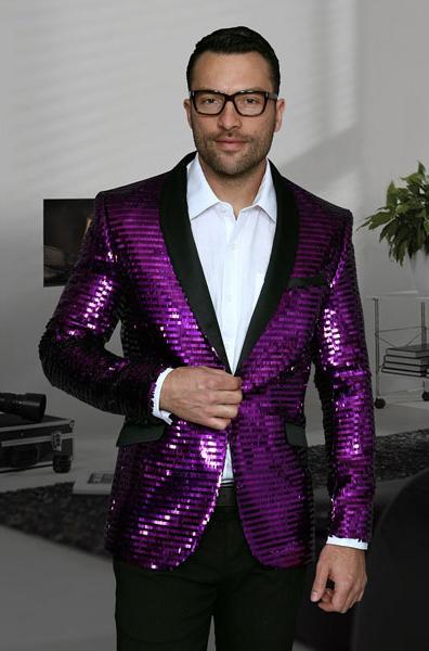 Mens Purple Shiny Sequin Paisley 1 Button Blazer Dinner Jacket Sport Coat Jacket Sharkskin Flashy Stage Available in Peak Lapel