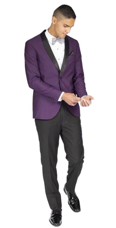 Mens Slim Fit Purple 1 Button Tuxedo with Shawl Lapel
