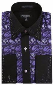 Purple/Black Microfiber Design Paisley Regular Fit Mens Dress Shirt
