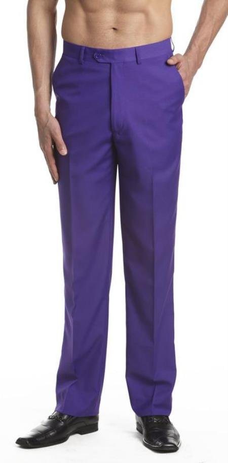 Mens Dress Pants Trousers Flat Front Slacks PUrple Online Sale