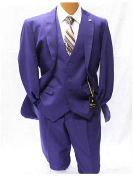 Purple Classic Fit Solid Vested Suit