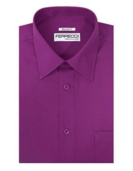 Ferrecci Lay Down Collared Cotton Blend Regular Fit Purple Mens Dress Shirt