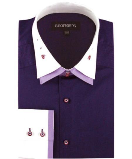 Purple 100% Cotton dress Solid Color Double Spread Collar Men's Dress Shirt